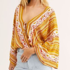 NWT FREE PEOPLE FOR YOU GOLD COMBO BODYSUIT- S